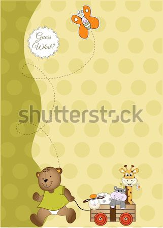 Delicate baby shower card with toys Stock photo © balasoiu