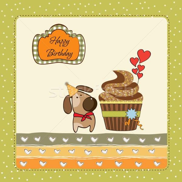 birthday greeting card with cupcake and little dog Stock photo © balasoiu