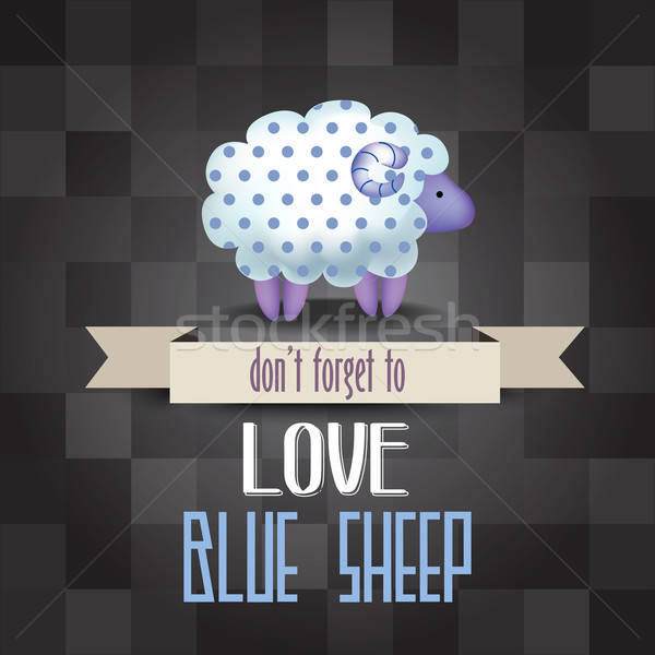 poster with sheep and message ' don't forget to love Stock photo © balasoiu