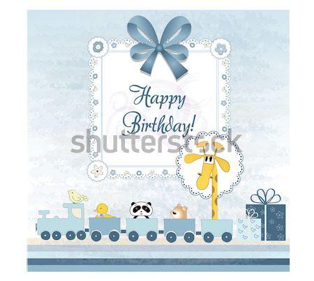 Foto stock: Bebê · chuveiro · cartão · brinquedo · trem · aniversário