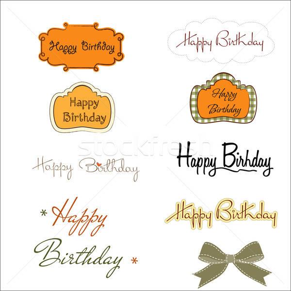 happy birthday texts set isolated on white background Stock photo © balasoiu
