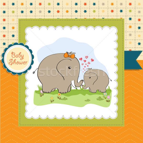 Baby douche kaart olifant moeder familie Stockfoto © balasoiu