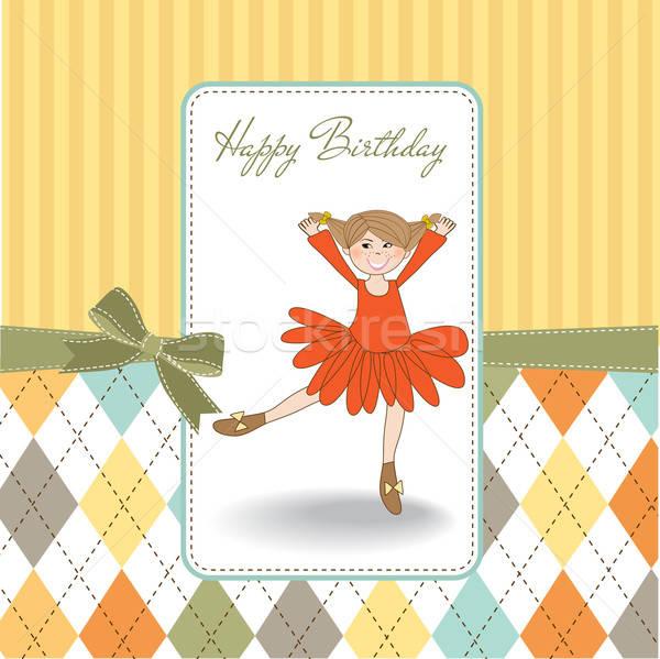 birthday greeting card with girl Stock photo © balasoiu