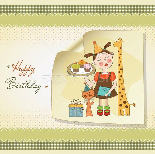 Boldog születésnapot kártya vicces lány állatok minitorták Stock fotó © balasoiu