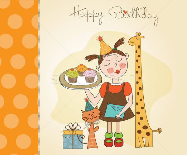 Happy Birthday card with funny girl, animals and cupcakes Stock photo © balasoiu