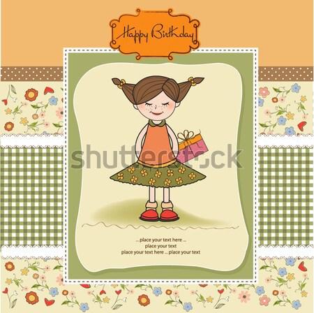 Mooie jong meisje vergadering champignon praten weinig Stockfoto © balasoiu