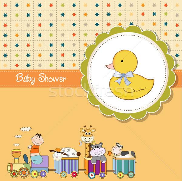 Engraçado desenho animado bebê chuveiro cartão vetor Foto stock © balasoiu