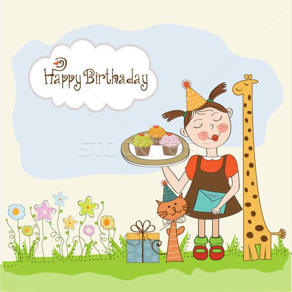Mutlu yıllar kart komik kız hayvanlar Stok fotoğraf © balasoiu