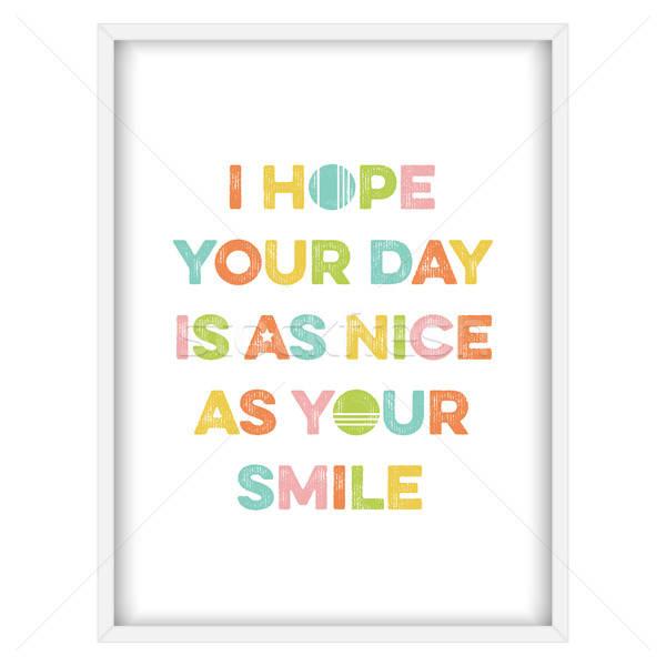 Esperanza día agradable sonrisa vector Foto stock © balasoiu
