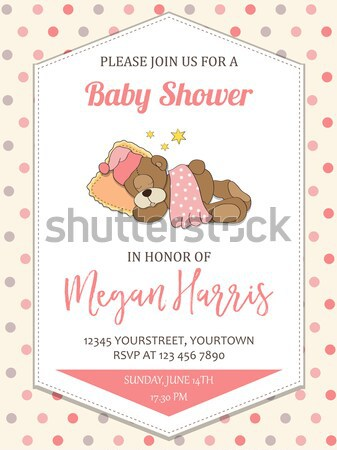 Stock photo: little baby girl play with her teddy bear toy