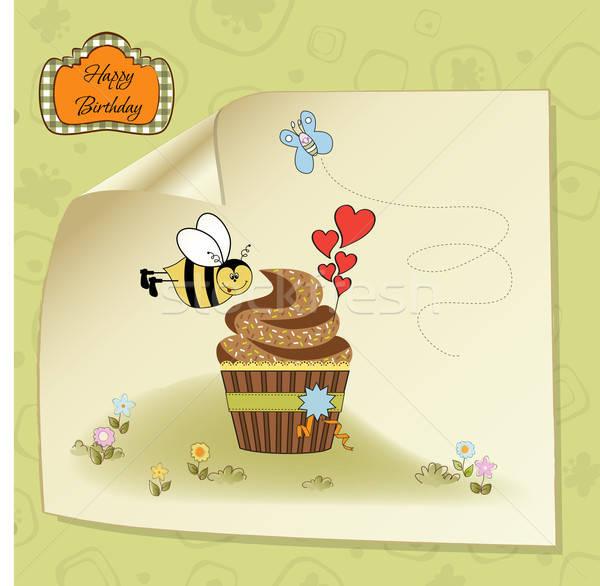 Verjaardag wenskaart grappig bee voedsel Stockfoto © balasoiu