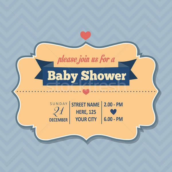 Bebek duş davetiye retro tarzı vektör format Stok fotoğraf © balasoiu