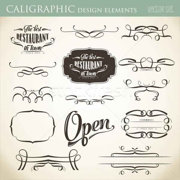 calligraphic design elements to embellish your layout Stock photo © balasoiu