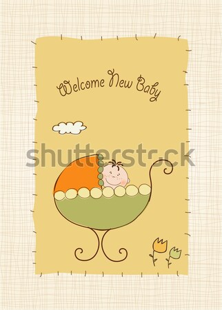 funny baby shower card with long dog Stock photo © balasoiu