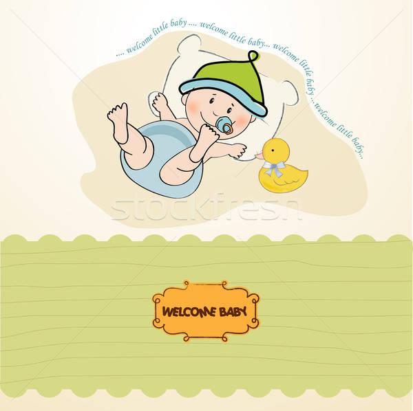 baby boy shower card Stock photo © balasoiu