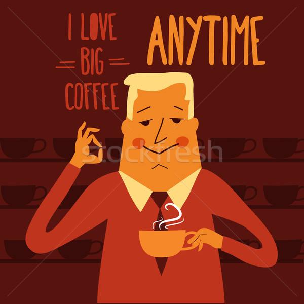 Stock photo: Coffee break, businessman drinking  coffee