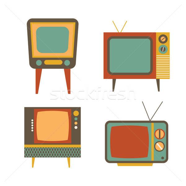 ретро телевизор набор белый фильма технологий Сток-фото © balasoiu