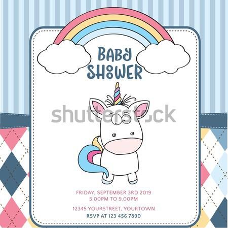 Stockfoto: Baby · douche · kaart · teddybeer · meisje · hart