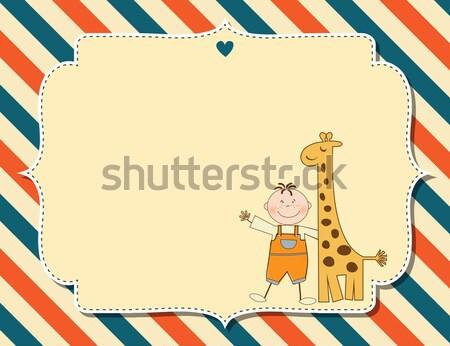 Engraçado desenho animado aniversário cartão menina bebê Foto stock © balasoiu