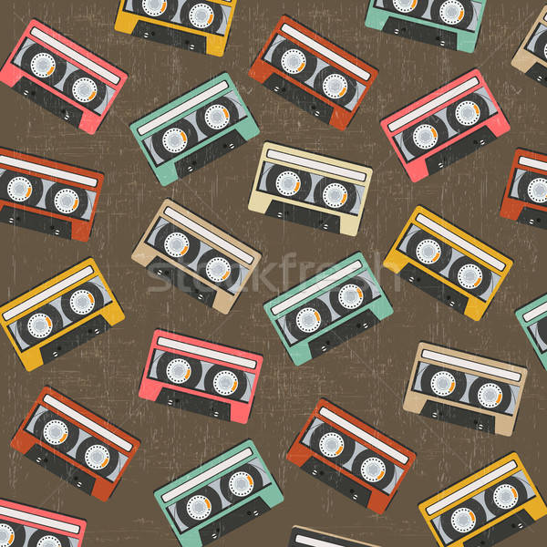 seamless background with vintage analogue music recordable casse Stock photo © balasoiu