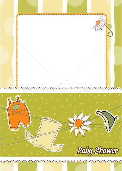 Baby douche aankondiging familie meisje abstract Stockfoto © balasoiu