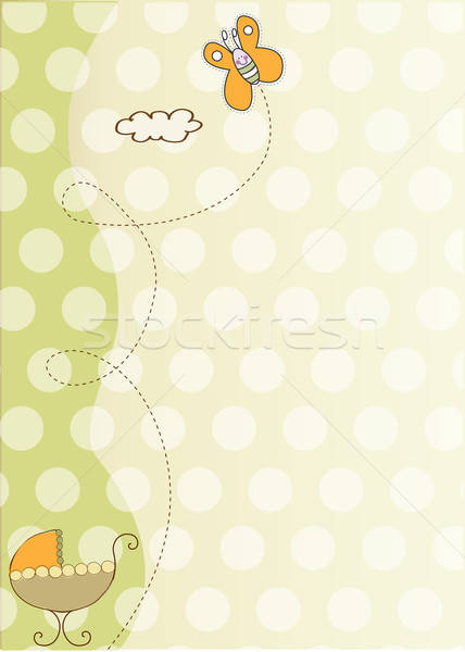 baby shower card with cute stroller Stock photo © balasoiu