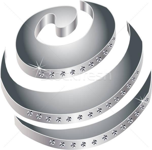 Stok fotoğraf: Spiral · elmas · lüks · gümüş · parlak · örnek