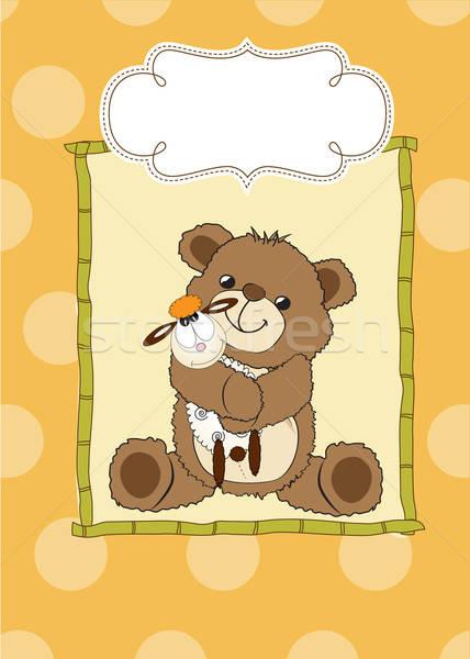 Puéril carte de vœux Nounours jouet fête heureux Photo stock © balasoiu