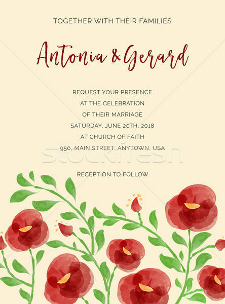 Invitation de mariage cartes couleur pour aquarelle vecteur format Photo stock © balasoiu
