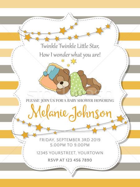 Lovely baby shower card with teddy bear Stock photo © balasoiu