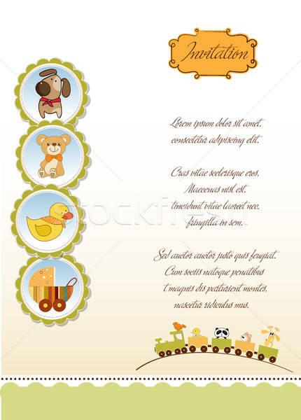 Nieuwe baby aankondiging kaart abstract kind Stockfoto © balasoiu