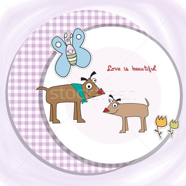 Paar gelukkig honden hart ontwerp kleur Stockfoto © balasoiu