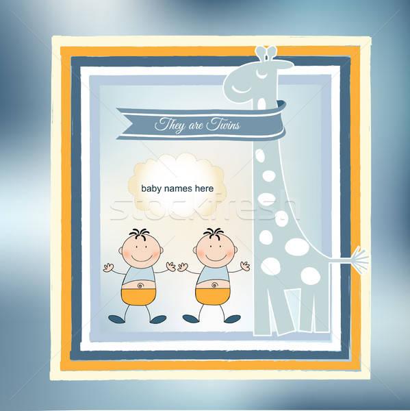 Tweelingen aankondiging kaart partij leuk jongen Stockfoto © balasoiu
