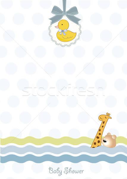 Stockfoto: Baby · douche · uitnodiging · aankondiging · water · meisje