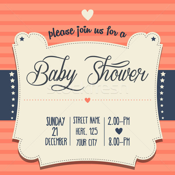 Stock photo: baby shower invitation in retro style