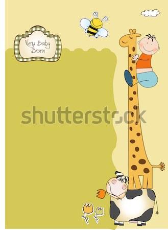funny cartoon birthday greeting card Stock photo © balasoiu