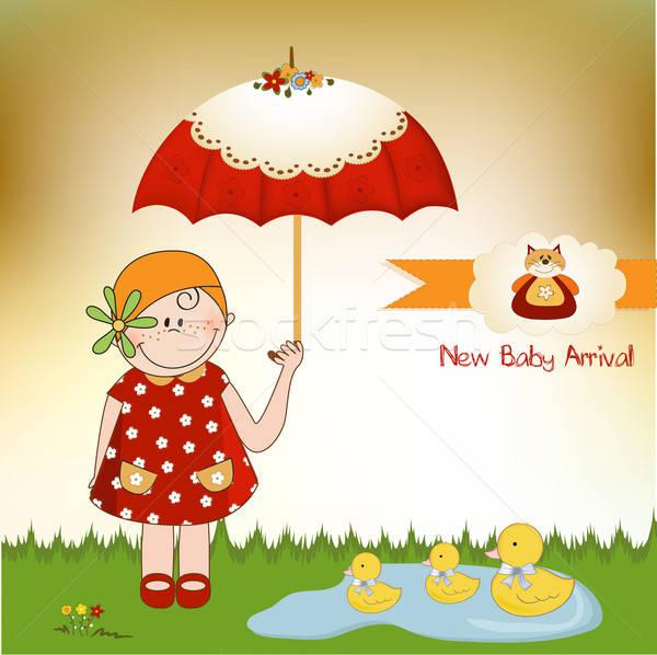 Baby aankomst kaart partij abstract verjaardag Stockfoto © balasoiu
