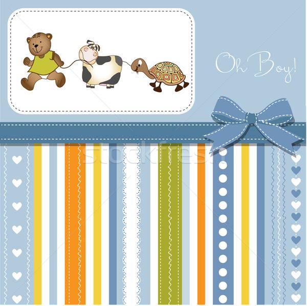 Baby prysznic zapowiedź karty dziewczyna szczęśliwy Zdjęcia stock © balasoiu