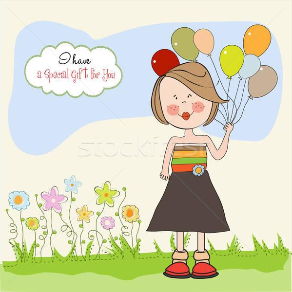Grappig meisje ballon verjaardag wenskaart kinderen Stockfoto © balasoiu