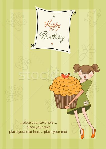 Boldog születésnapot kártya lány csésze torta buli Stock fotó © balasoiu