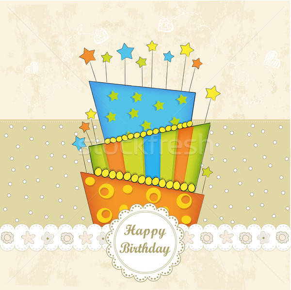 Happy Birthday cupcake Stock photo © balasoiu