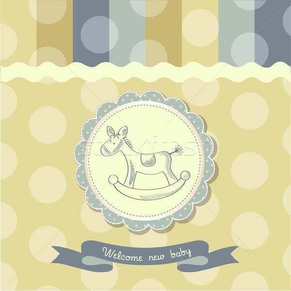 Rétro bébé douche carte cheval à bascule bois Photo stock © balasoiu