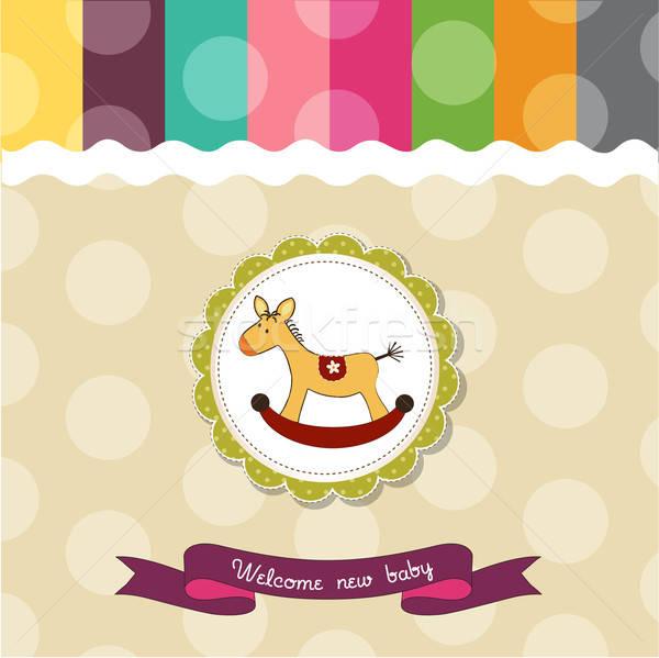 baby shower card with rocking horse Stock photo © balasoiu