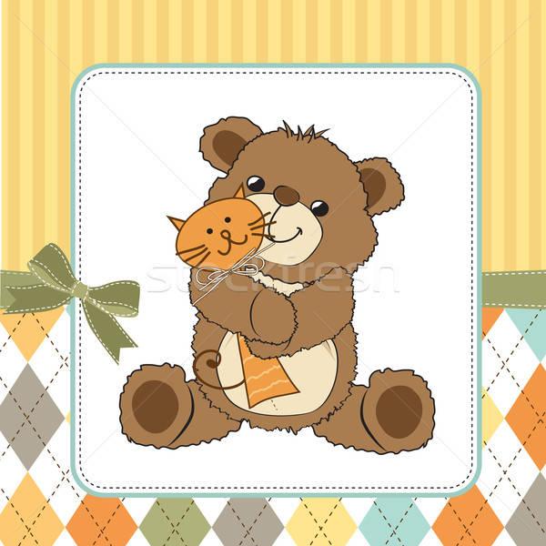 Infantile biglietto d'auguri orsacchiotto giocattolo party felice Foto d'archivio © balasoiu