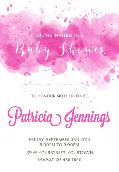 Stock photo: Gorgeous watercolor baby shower invitation
