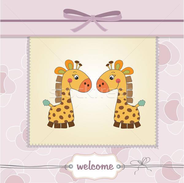 delicate baby twins shower card Stock photo © balasoiu