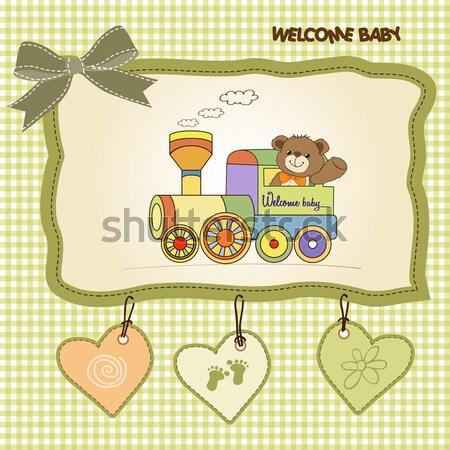 Foto stock: Romântico · bebê · menino · anúncio · cartão · aniversário