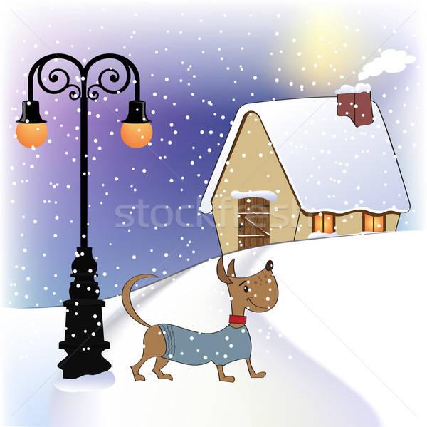 Christmas card with happy dressed dog Stock photo © balasoiu