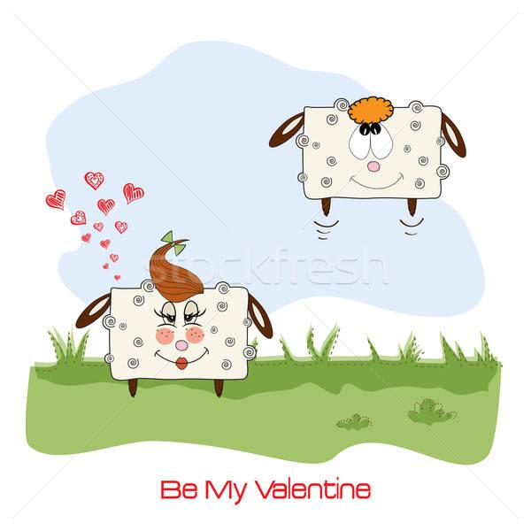 sheep lovers, comic illustration for Valentine's day or wedding Stock photo © balasoiu