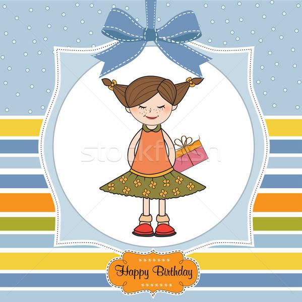 Opgewonden jong meisje huid speciaal geschenk meisje Stockfoto © balasoiu